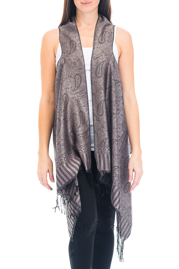 All Paisley Patterned and Striped Fringed Pashmina Long Vest