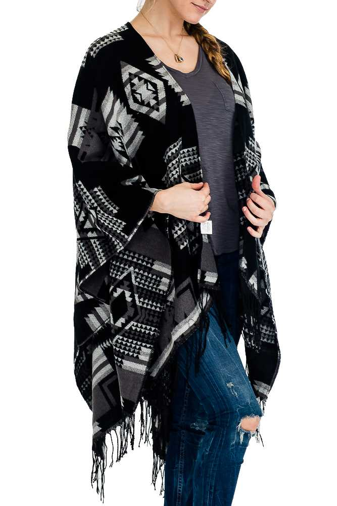 Aztec Pattern Super Soft Open Poncho and Shawl