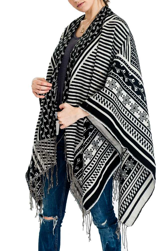 Flower and Aztec Pattern Design Natural Knitted with Fringe Open Poncho
