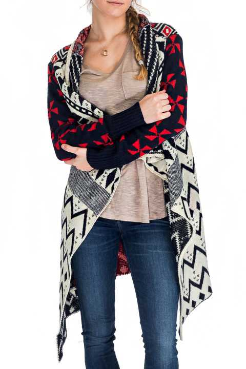 The Semi Sleeve Poncho Sweater With Multi Pattern Print
