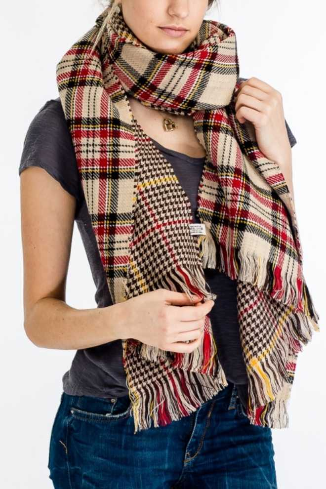 Plaid Thick Both-Side Knitted Super Softness Shawls and Poncho Style