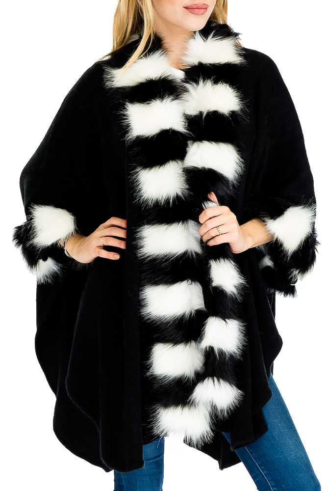 Two Tone Faux Furred Shawl Styled Sleeveless Long Poncho