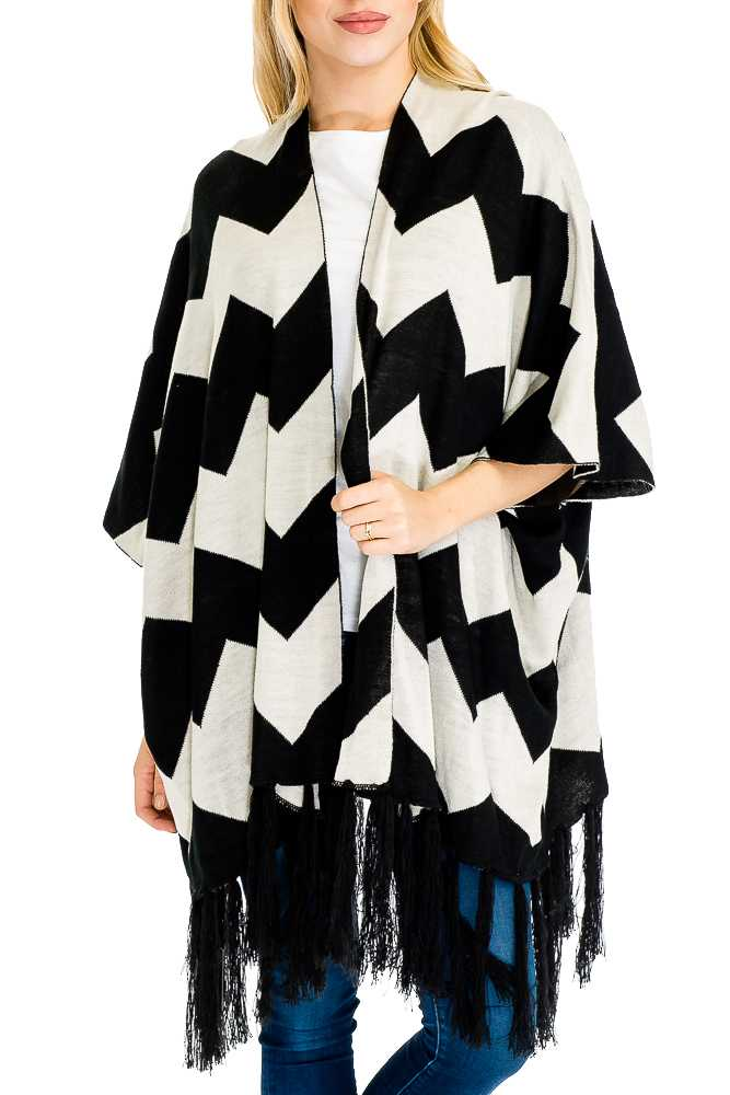 Two Tone Missoni Patterned Soft & Thick Knit Open-Front Poncho