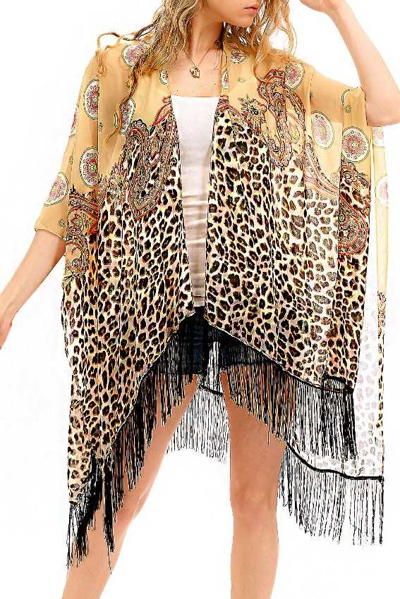 Sheer Chiffon Paisley And Animal Print Cardigan Cover Up Kimono