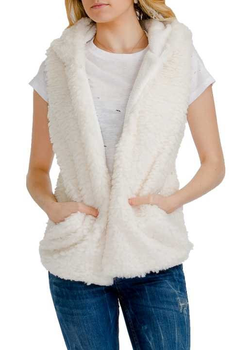 Luxurious and Warm Extra Soft & Shaggy Faux Fur Hooded Vest with Pockets