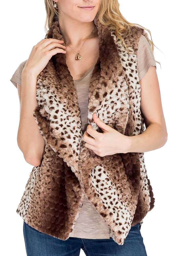 Super Soft Faux Fur Cheetah Print Fashion Vest