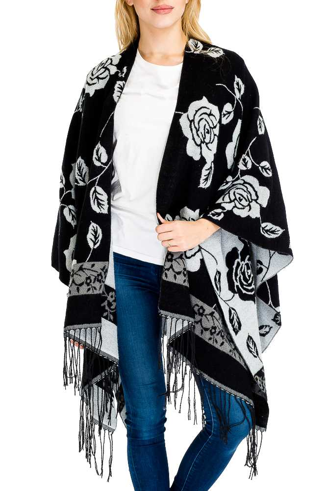 Two Tone Floral Printed Reversible Cape Styled Wool Felt Open Silhouette Poncho