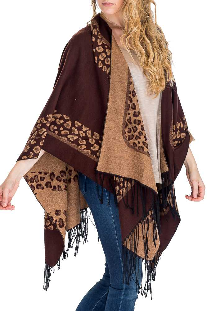 Soft As Cashmere Feel Leopard Poncho Wrap