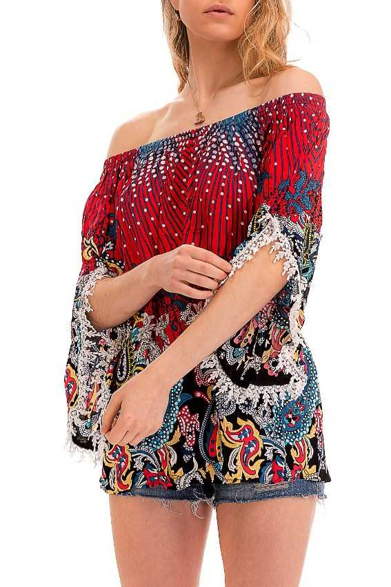 Off The Shoulder Vibrant Paisley Slightly Lace Trimmed Sleeved Kimono Top
