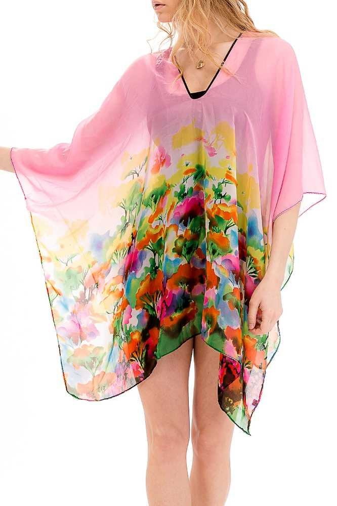 Full Of Color Water Marked Florals Throw Over Sheer Kimono Top