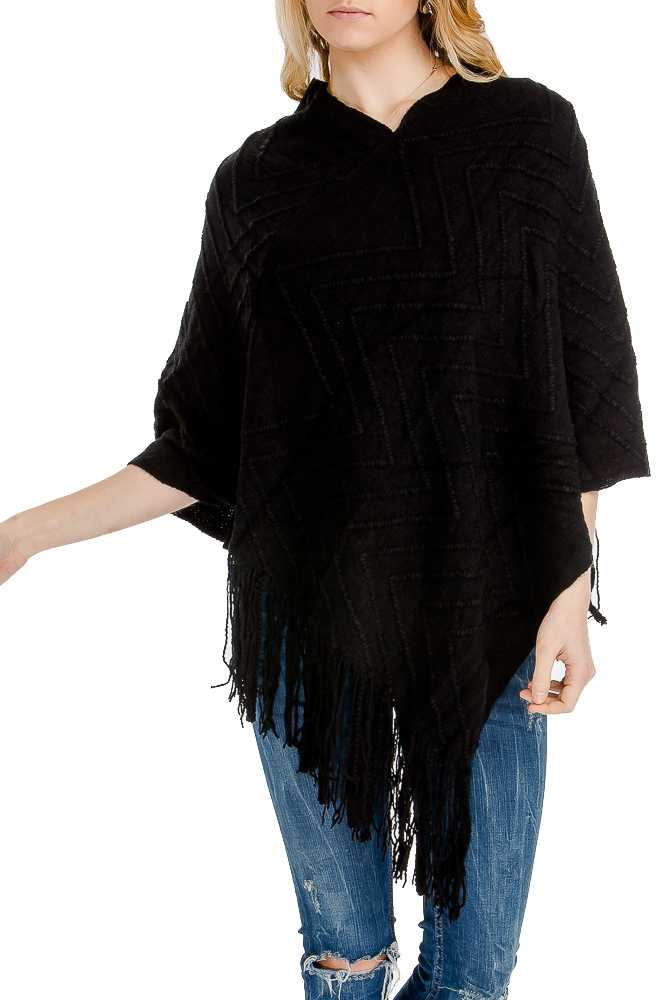 Missoni Pattern-Embossed Extra Soft Slouchy Throw Over Fringed Poncho