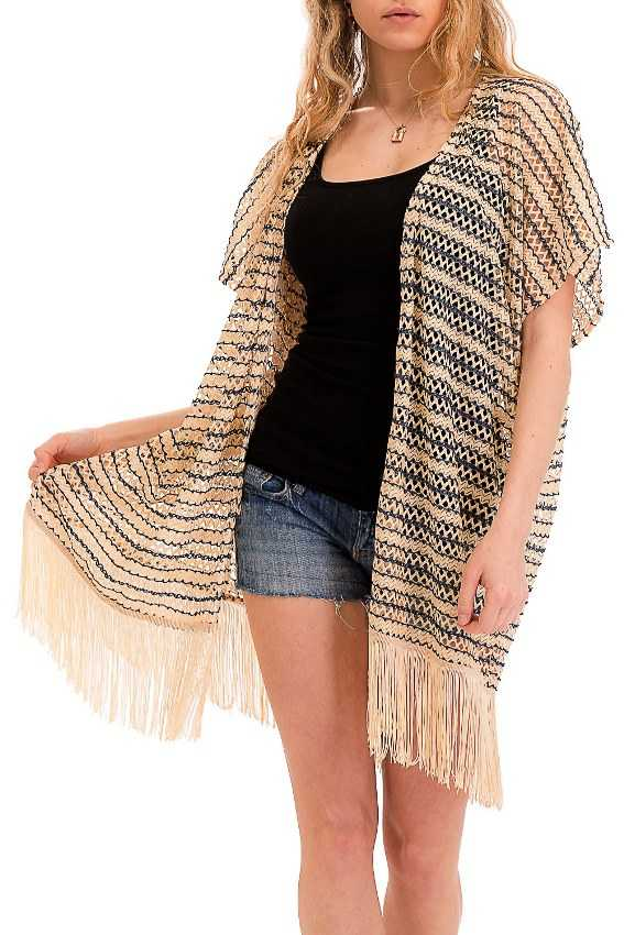Mesh Net Laser Cut Chevron Cardigan kimono with Accented Black Coloring