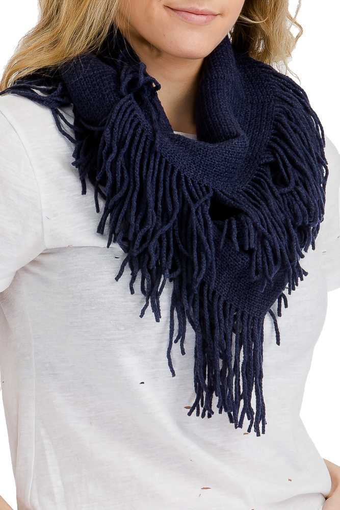 Ribbed Knit Super Soft Fringed Infinity Scarf