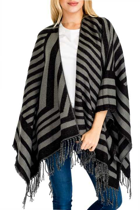 Striped Design Open Poncho with Fringe