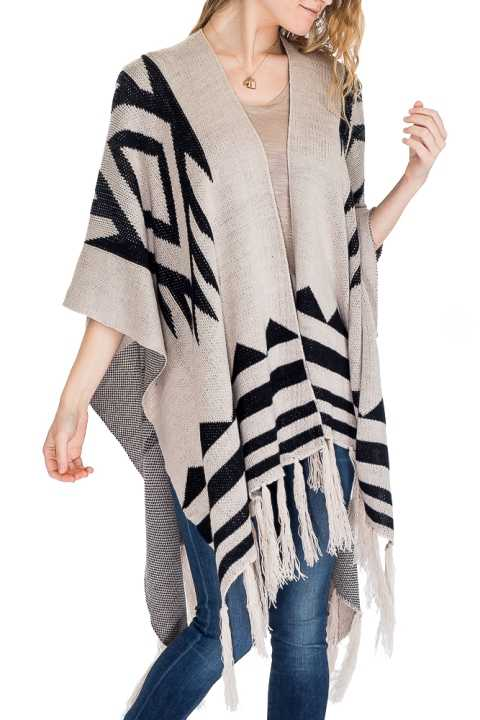 Aztec Pattern Thick Knitted with Fringe Design Open Poncho