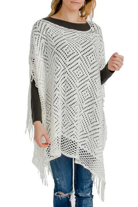 Diamond Pattern Lace-like Holed & Fringed Throw Over Poncho