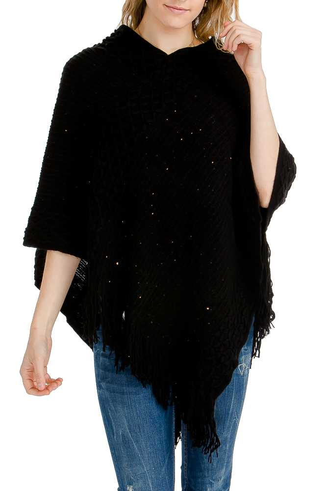 Thick Sequins Threaded & Knit Double-Layered and Fringed Poncho