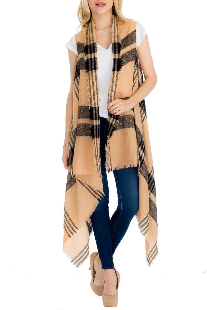 Stripe and Plaid Patterned Extra Soft Long Vest with Trimmed Ends