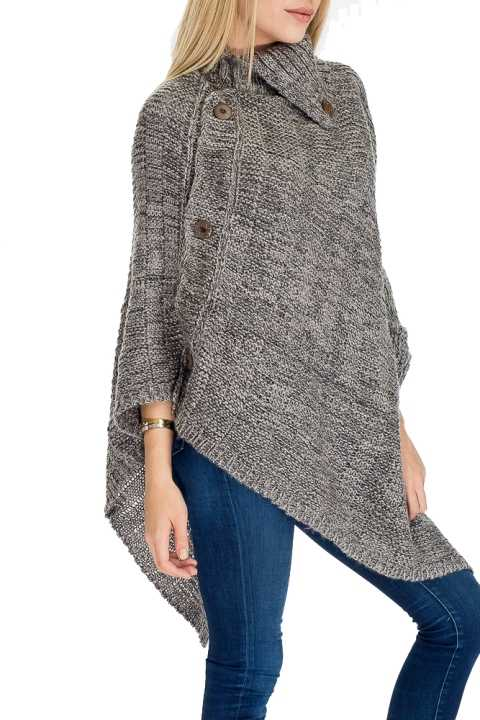 Signature Wooden Boho Button Thick knit Fashion Poncho
