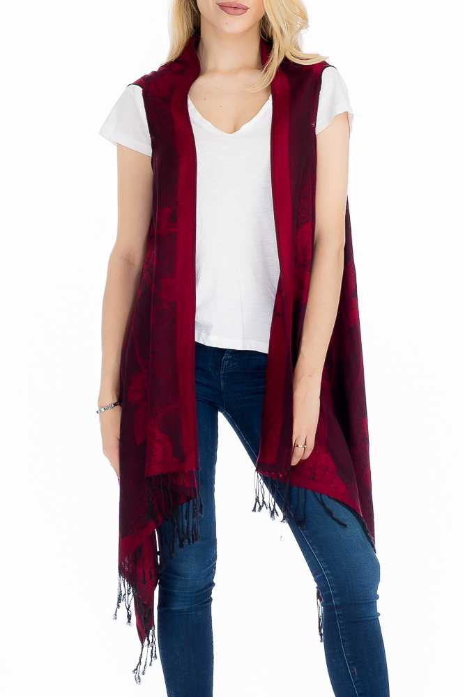 Rose Patterned, Silk Felt, and Semi Sheer Pashmina Long Vest
