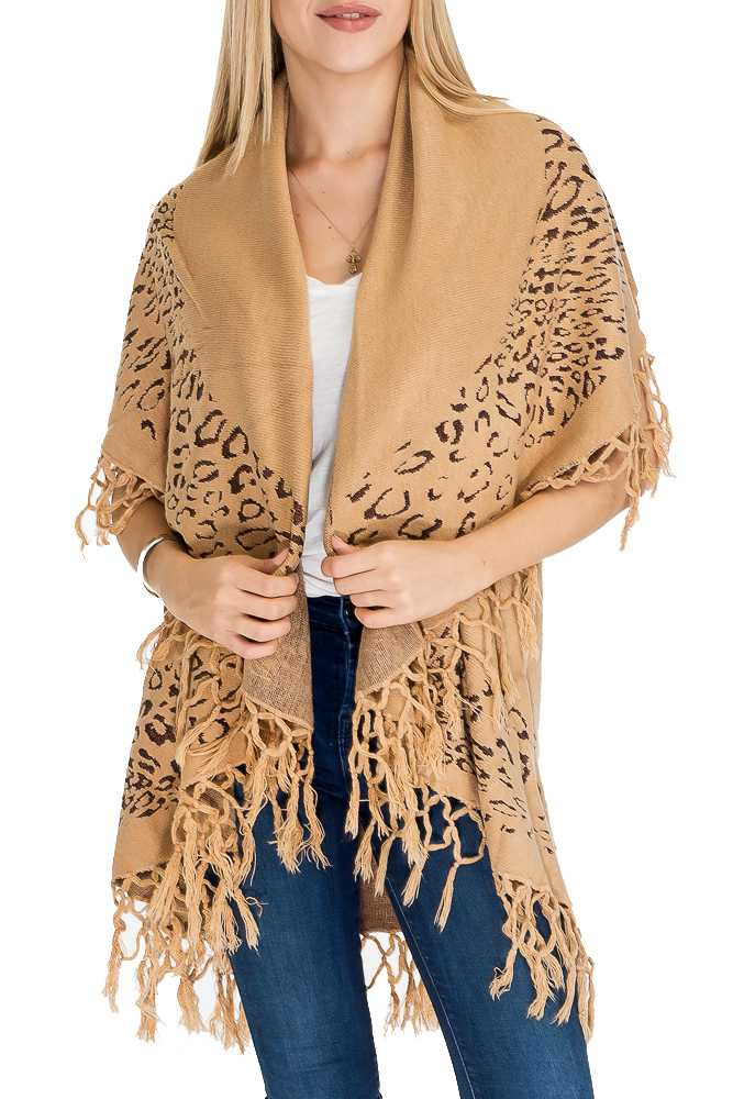 Leopard Pattern Double Design with fringe Spandex Cashmere Feel Long Sleeve Cardigan Vest