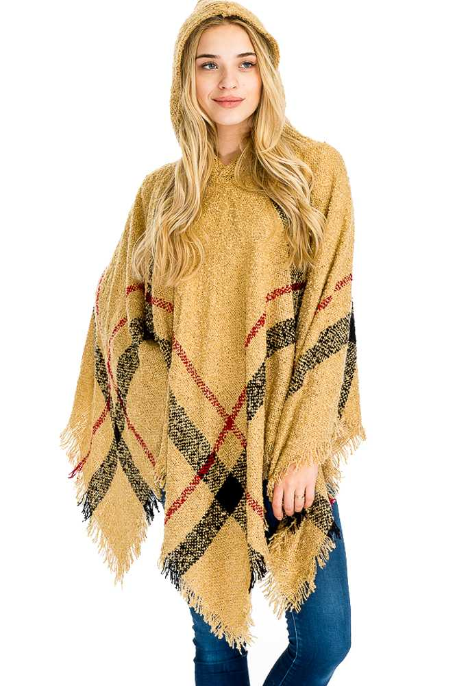 Plaid Pattern Super Softness with Hooded Poncho