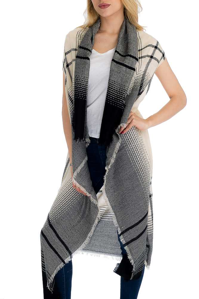 Double Tone Ombre Dyed Fashion Blanket Cardigan Vest
