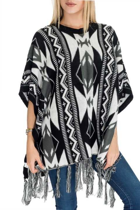 Aztec Pattern Knitted with Button Thick Warm Poncho