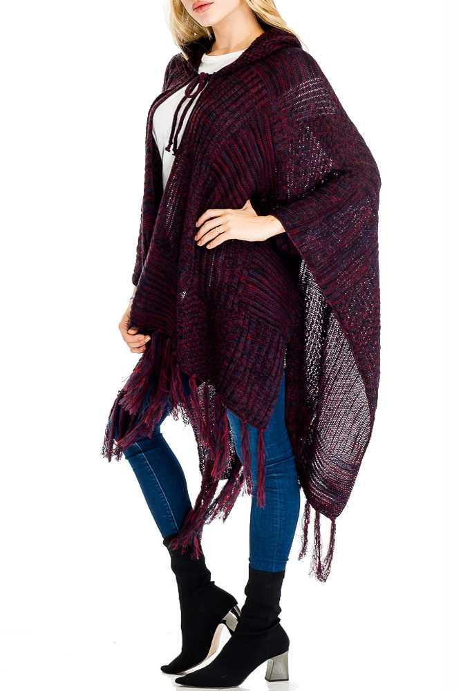 Multiple Chromatic Toned Hooded With Decorative Pull String Softness Poncho