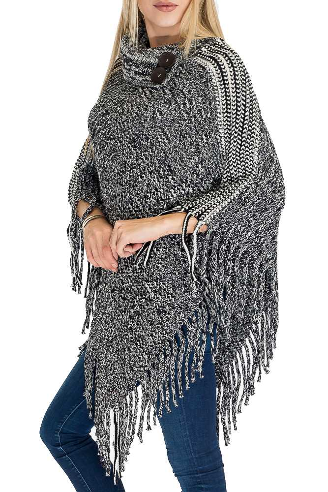 Crochet Super Soft Thick with Big Button Design Poncho