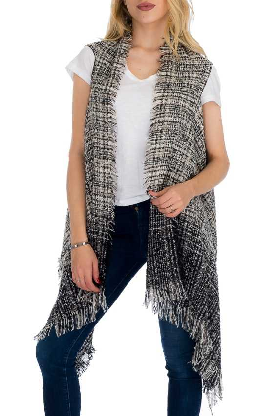 Checkered Design Tie dye Pattern Semi Sheer Sleeveless Fall and Winter Softness Acrylic Cardigan Sty