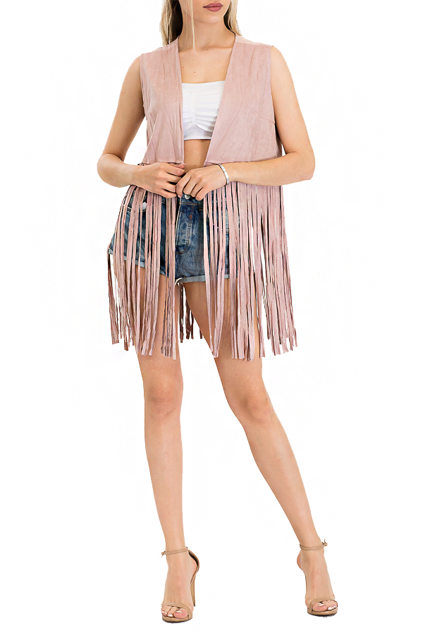 Long Fringed Misty Rose Suede Vest
