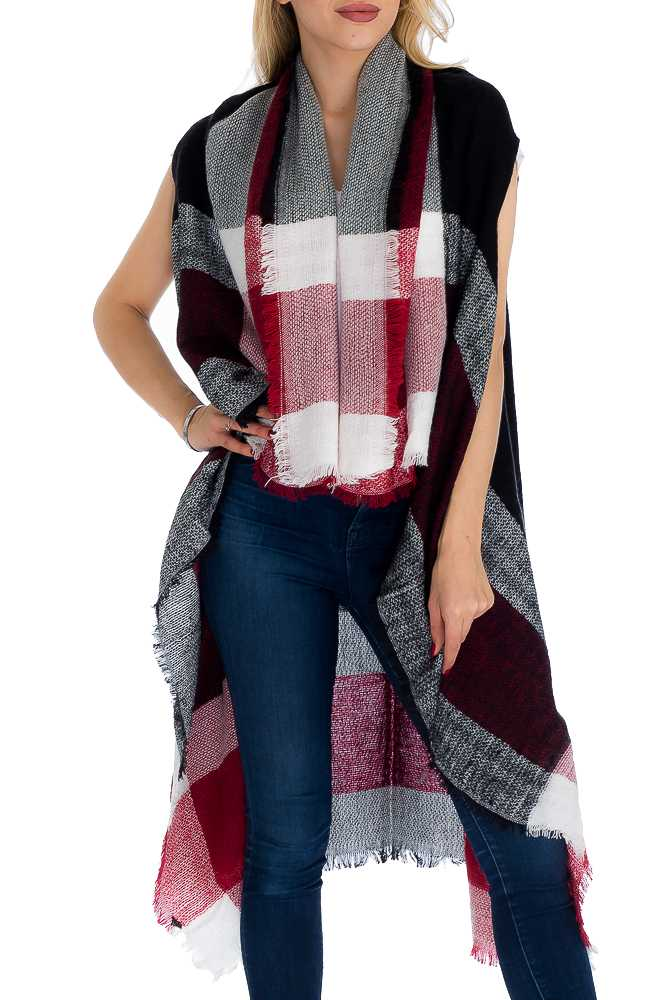 Multi-toned & Checkered Blanket Felt and Oversized Long Vest with Frayed Ends