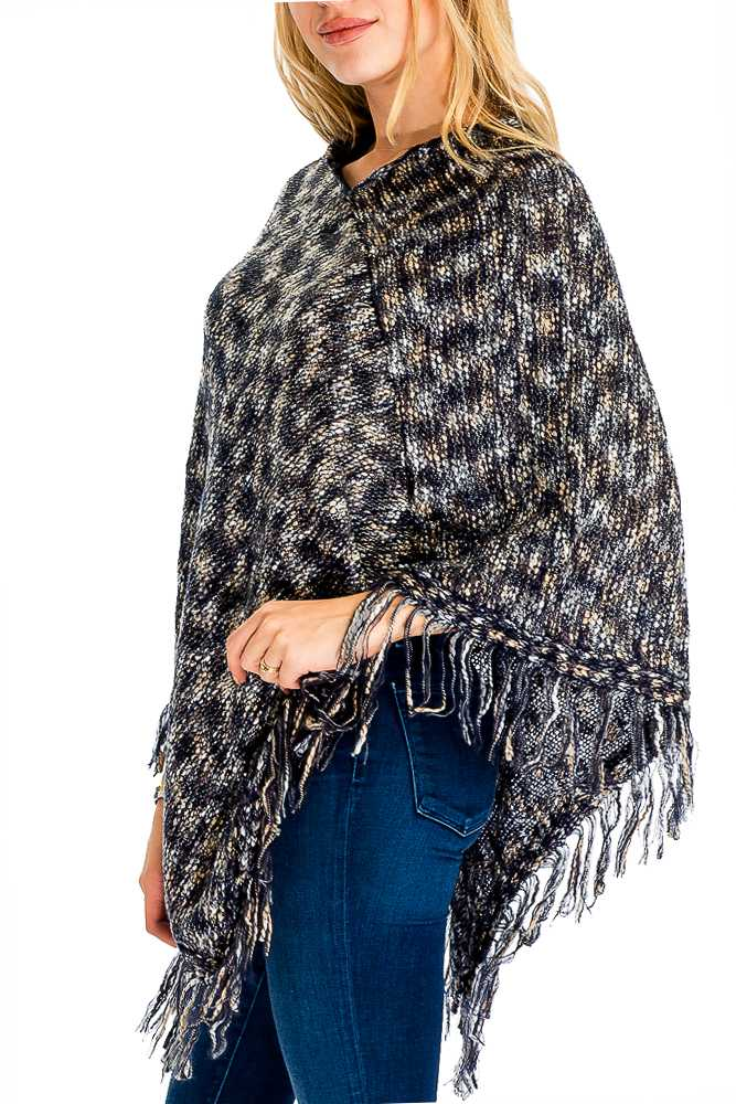 Multi Color with Fringe Poncho