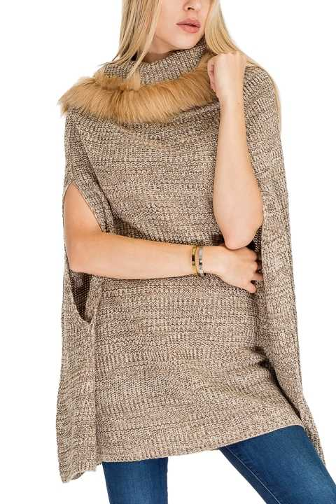 Fur Turtleneck Tunic Poncho Slit Sleeves Relaxed Silhouette Pullover Style