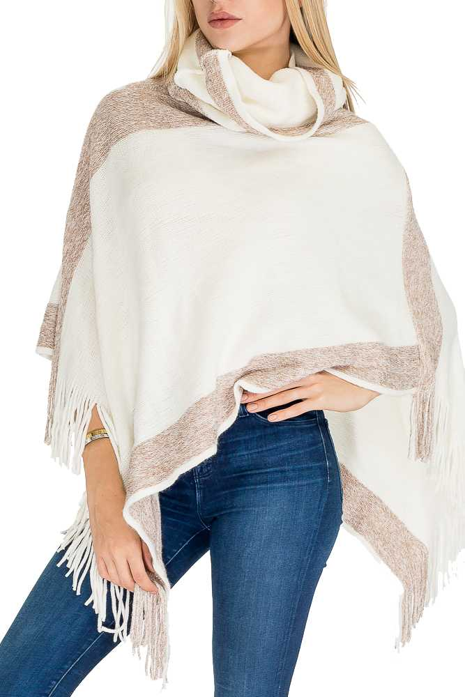 Cashmere Feel Thick Super Softness with Tinsel Accent Turtle Neck Fringe Poncho