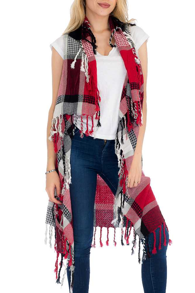 Plaid and Checkered Colorful Pattern Long Sleeveless with Knitted Fringe Cardigan Style