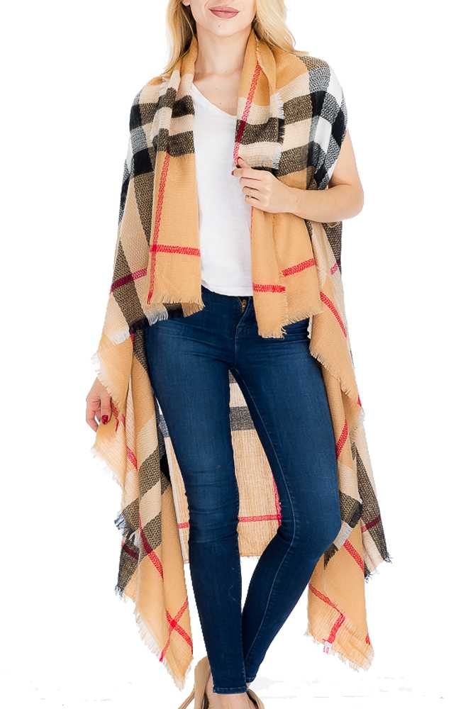 Extra Soft and Plaid Patterned & Distressed Semi Sheer Long Vest
