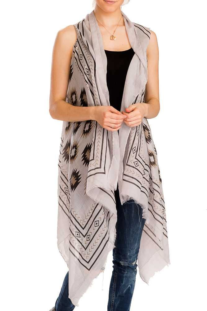 Tribal Pattern Semi Sheer Sleeveless Cotton Feel Super Softness Vest Beach Kimono