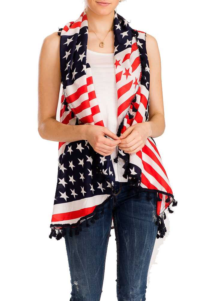 American Flag Patterned & Fringed Long Vest