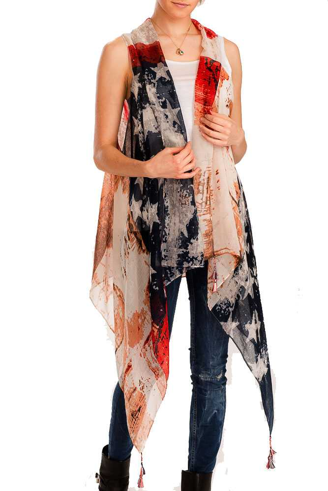 Washed Vintage Styled & Distressed and Semi Sheer American Flag Long Vest