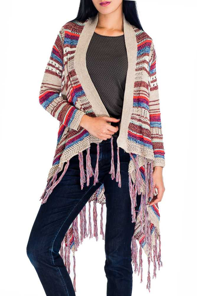 Multi Colorful Striped Pattern Crochet Cardigan with Long Sleeves Poncho