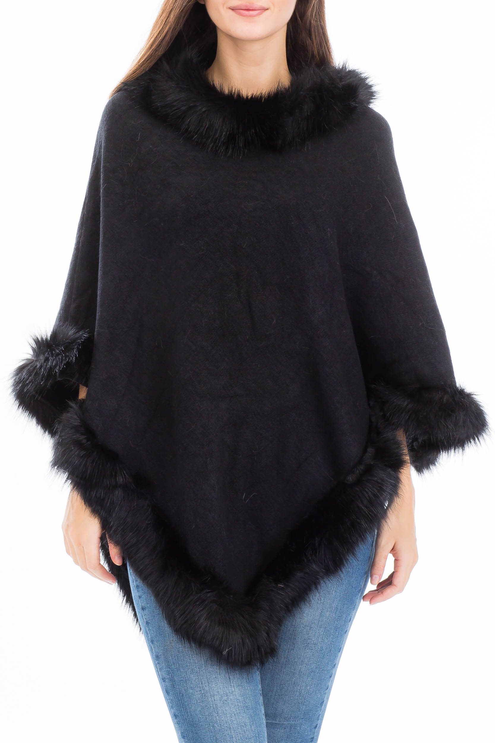 Faux Fur Detailed Hem Luxury Poncho