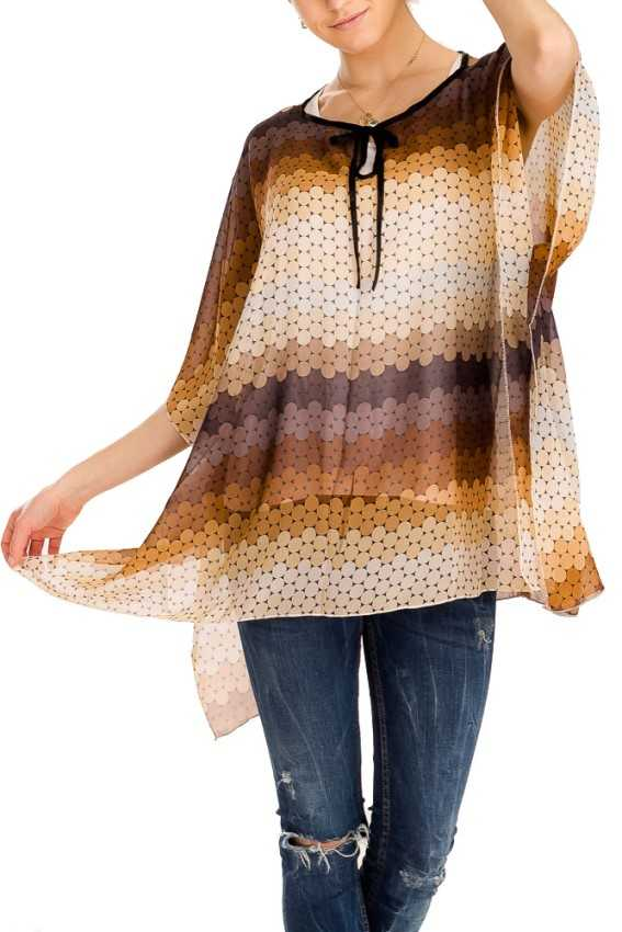 Polka dot Multi Color Design Chiffon fabric Tunic Top Kimono