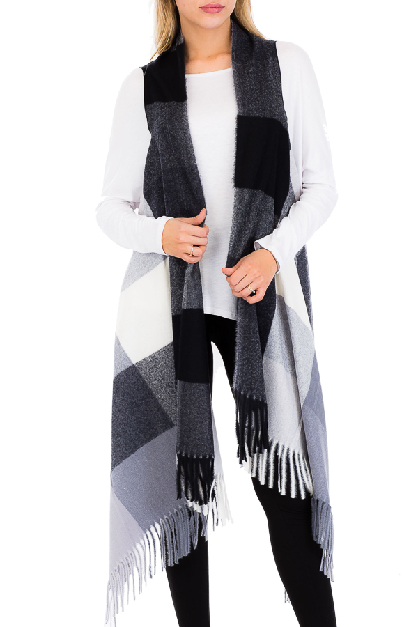 Just Classic Soft Touch Checkered Colored Vest Cardigans
