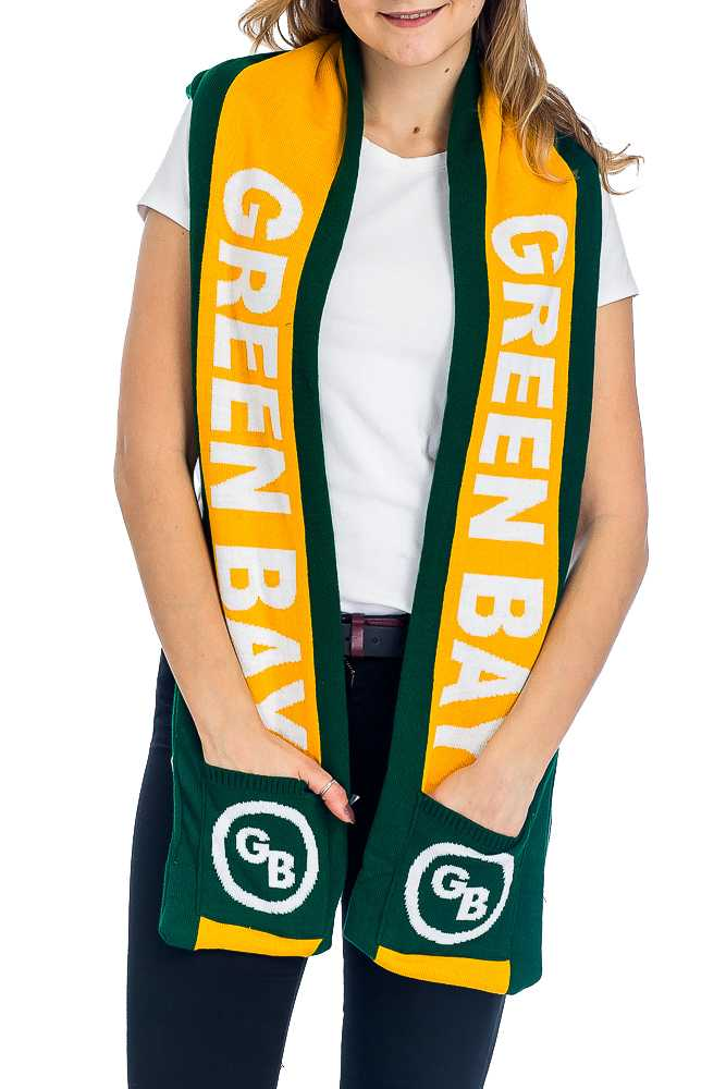 """GREENBAY"" Double Layered Thick Knit Hooded Winter Scarf with Pockets"