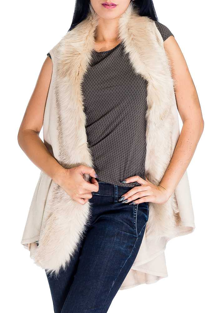 Glam Max Fur Trimmed Dramatic Shawl Collar Sleeveless Knit Vest