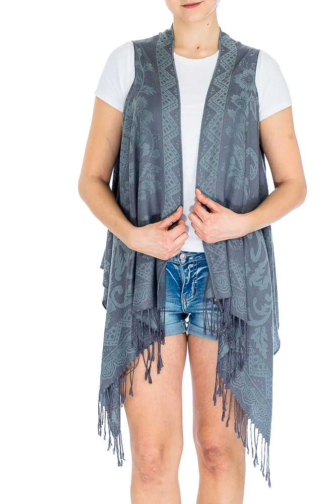 Flower Vineyard Patterned Soft Pashmina Kimono Vest