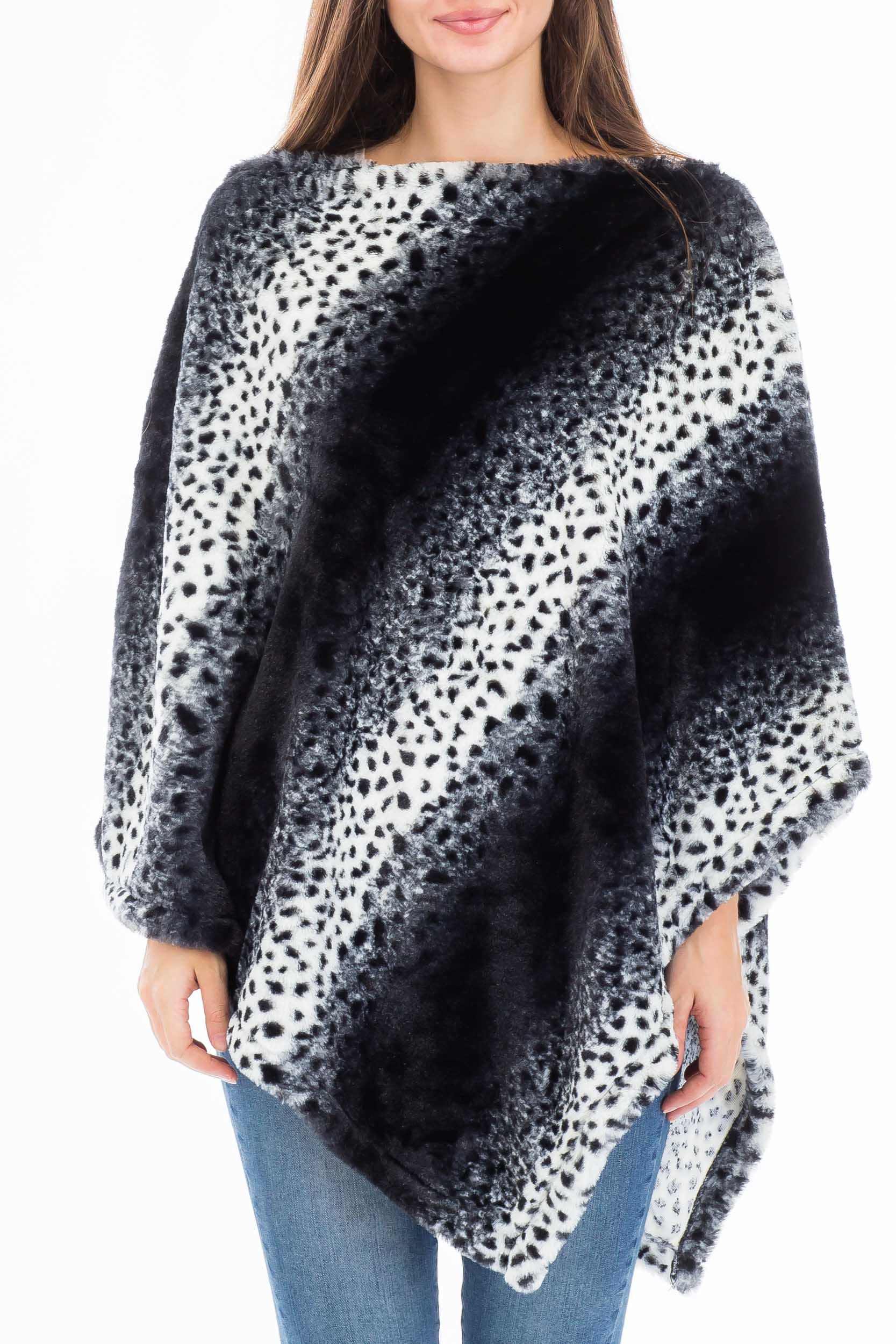 Draped Neckline Leopard Print Super Soft Plush Fur Poncho