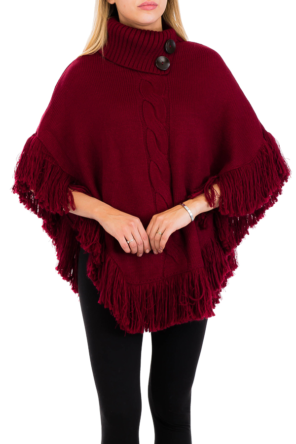 Boho Chic Wood Button Decor Neck Line Poncho